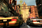 A taxi and police car travel through China Town.