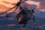 Helos fighting at sunset