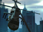 A helicopter flies through the city