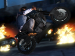 Franklin doing wheelies past burning cars
