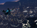 Skydiving over Downtown Los Santos at night