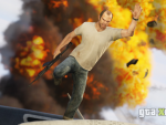 Trevor leaps from a fireball