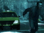 Niko  running though the rain of Liberty City.
