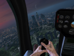 (First-person) Early morning flight over the city