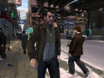 Niko Bellic makes his way through pedestrians in the busy city.