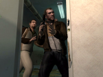 Niko and Roman enter the locked room. The door reads 'B. Crane'.