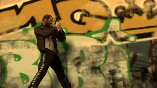Niko walks along a grafitti covered wall, gun drawn.