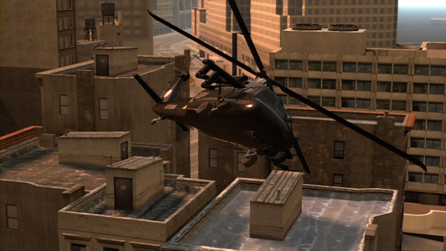 A helicopter hovers over the rooftops.