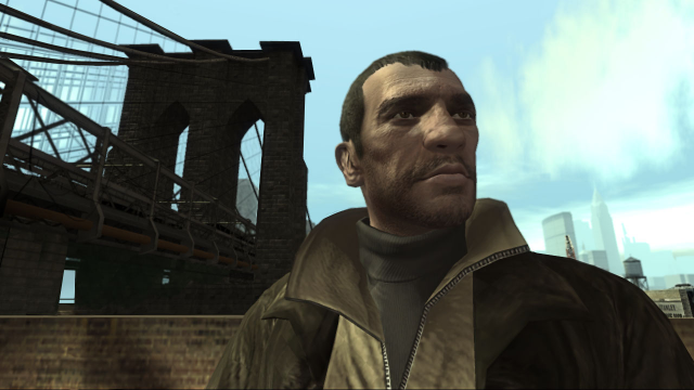 A shot of Niko standing near a bridge.