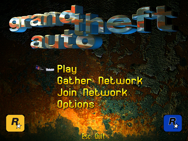 Grand Theft Auto Menu Screen