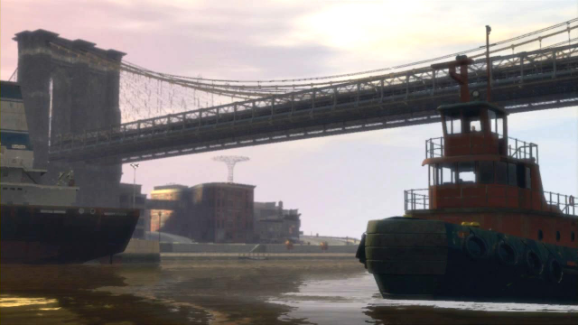A tugboat under a bridge