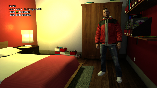 Luis Outfit #4: Jeans + Red and GreyTop