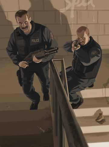 Artwork showing two cops with shotguns climbins the stairs.