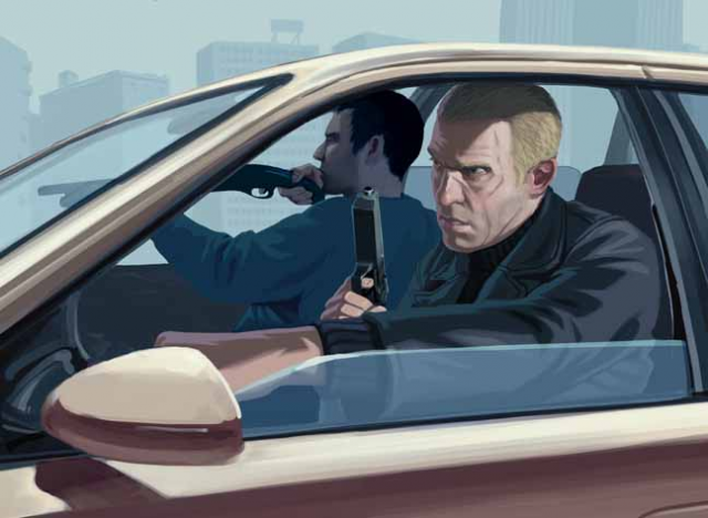 Artwork showing two armed men in a car.
