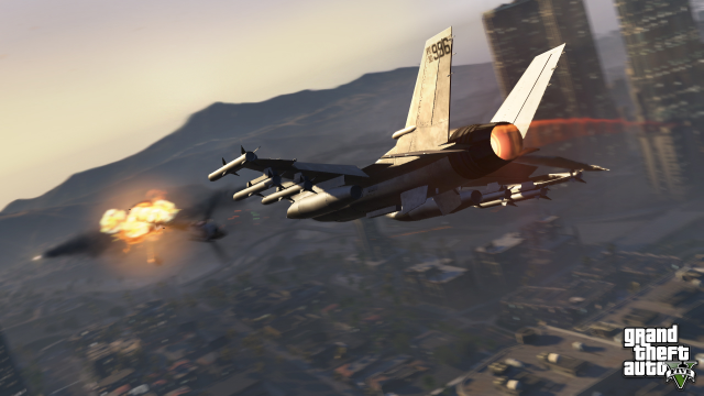 Jet firing missiles over Vinewood