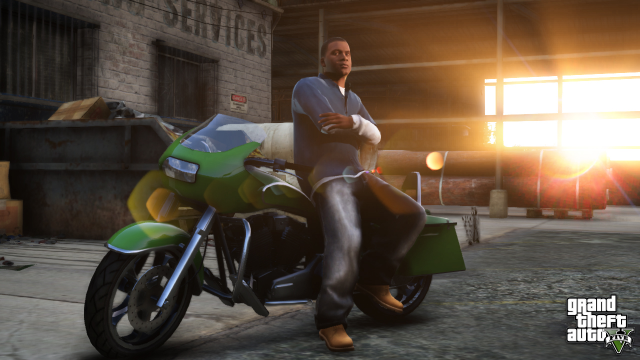 Franklin chillin' with a green motorcycle