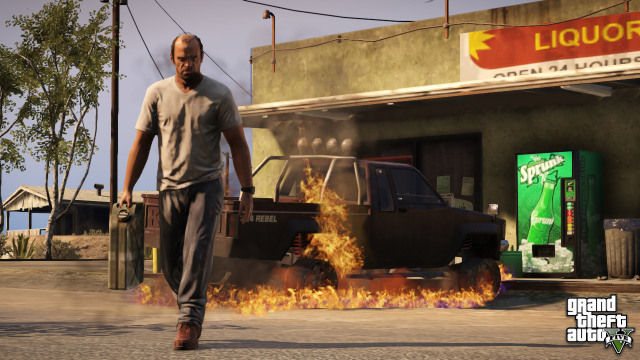 Trevor walking away from a burned Rebel pickup