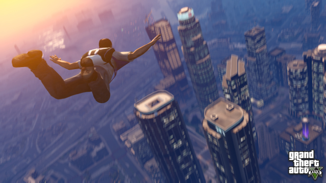 Trevor skydiving into Downtown Los Santos