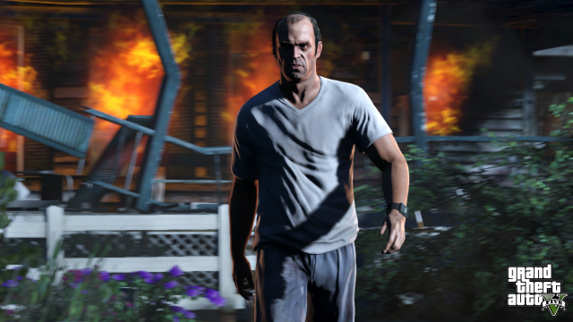 Trevor looking badass after burning a house
