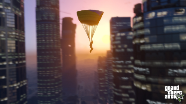Parachute ride through Downtown Los Santos