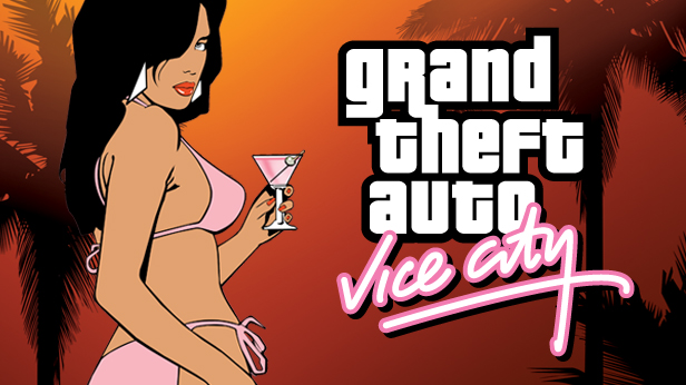 bikini girl with vice city logo - igrandtheftauto