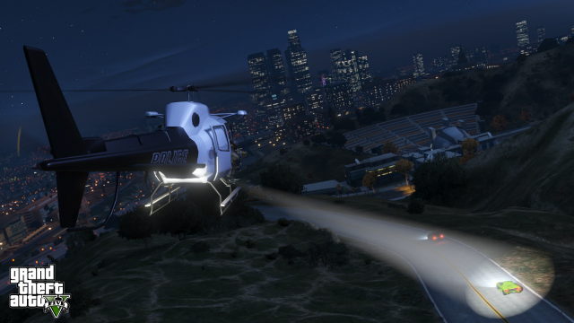 LSPD chopper chasing a green Infernus