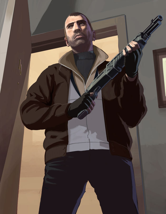 Niko standing with a shotgun.