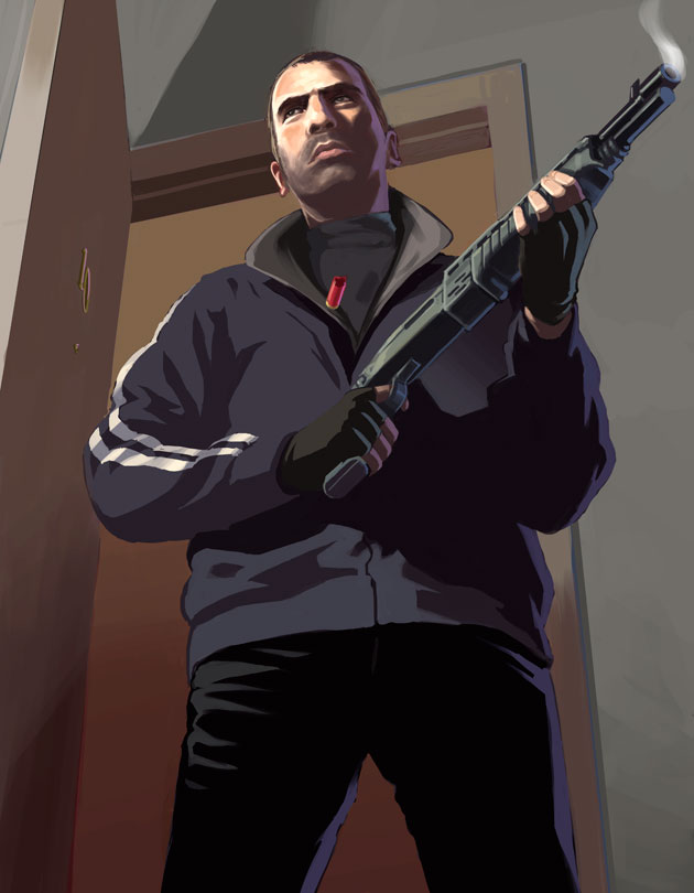 Niko standing with a smoking shotgun.