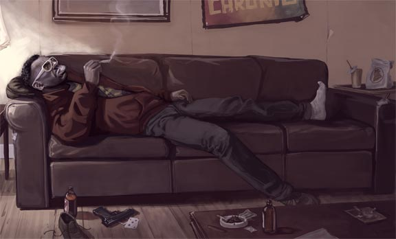 Little Jacob smokes a joint on his sofa.