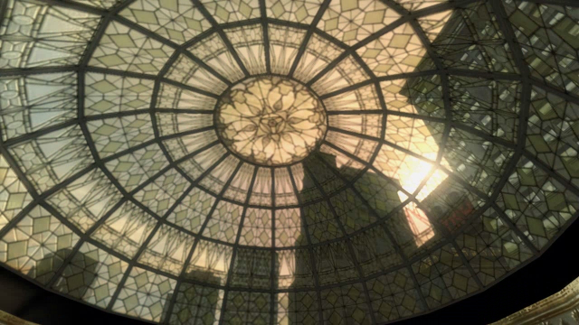 The light shines through a patterned glass roof.