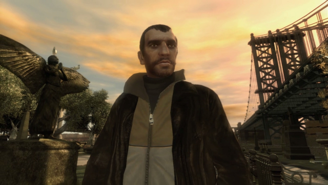 The main character Niko Bellic stands in a park.
