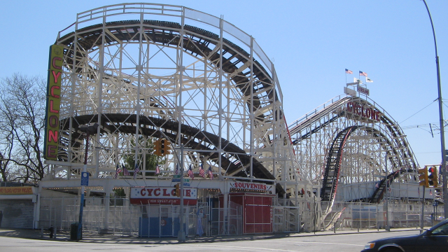 The Cyclone Roller Coaster.